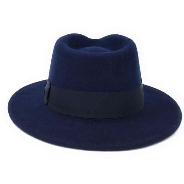 Navy Fedora Hat: Wool, Crushable - Indy